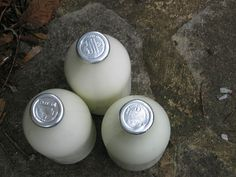 Glass milk bottles that the milkman used to deliver! Loved the thick cream top!