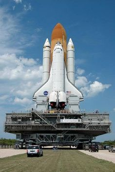 Space Shuttle on way to launch pad.