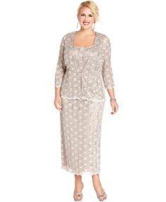 R&M Richards Plus Size Sleeveless Sequined Lace Dress and Jacket | macys.com