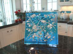 Blue Dogwood Platter | Designer Glass Mosaics | Designer Glass Mosaics