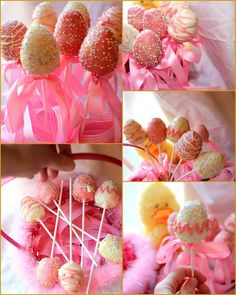 Everyone, I just got some amazing brand name purses,shoes,jewellery and a nice dress from here for CHEAP! If you buy, enter code:atPinterest to save http://www.superspringsales.com -   Easter Egg Cake Pops!