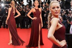 Blake Lively dazzles on Cannes red carpet as she leg bombs in maroon dress