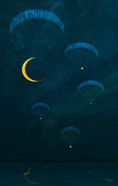 petitpoulailler:  wasbella102: Patrycja Wróbel (Polish; contemporary) ~ Twilight Petit: g'night, all … We're off to find our moon