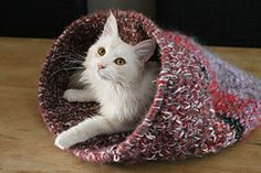This is a pattern for making a cat-cave, using left over yarn and a plastic hoop. Size can be adjusted.