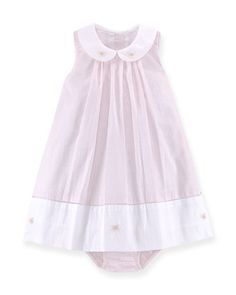 Pleated Shift Dress & Bloomers, Pink/White, Size 6-24 Months by Ralph Lauren Childrenswear at Bergdorf Goodman.