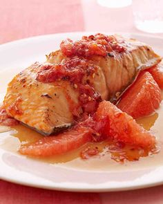 The sweet bite of a relish made from red grapefruit, brown sugar, and red pepper flakes provides a perfect foil to the richness of broiled salmon fillets. The only fat in this main dish comes from the salmon's beneficial omega-3 oils.