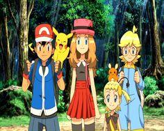 Ash Ketchum, Pikachu, Serena, Dedenne, Bonnie & Clemont