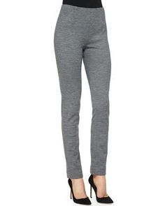 Ponte Side-Zip Pants, Gray by Lela Rose at Neiman Marcus.