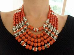 Ukrainian namysto (traditional style necklace of silver and coral or glass imitating coral)