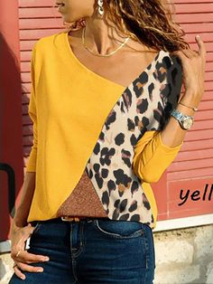 Asymmetric Neck Patchwork Contrast Stitching Color Block Long Sleeve t shirt outfit t shirts outfit summer t shirts outfit casual t shirts outfit dressy t shirts outfit jeans and Casual T Shirts, Casual Outfits, Fashion Outfits, Women's Fashion, Trendy Fashion, Blouse Styles, Long Sleeve, Clothes, Women's Bottoms