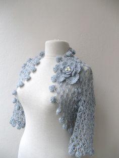 Shrug bolero jacket with flower brooch-light grey mohair-weddings bridal bridesmaids bride fashion-spring summer. $79.00, via Etsy.