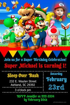 Super Mario Party Birthday Invitations - Digital Download - Get these invitations RIGHT NOW. Design yourself online, download JPG and print IMMEDIATELY! Or choose my printing services. No software download is required. Free to try!