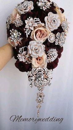 Bling Wedding, Fall Wedding, Wedding Bouquets, Wedding Jewelry, Wedding Ideas, Broach Bouquet, Rose Bouquet, Wedding Flower Arrangements, Wedding Centerpieces