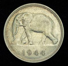 Belgian Congo coins 50 Francs Silver Coin of 1944 African Elephant Elephant Art, African Elephant, Saving Coins, French Coins, Belgian Congo, Silver Investing, Canadian Coins, Foreign Coins, Coin Art