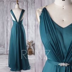 2016 Blue Ink Bridesmaid Dress with Beading, Backless Wedding Dress, Ruched V Neck Prom Dress, A Line Evening Gown Floor Length (H288)