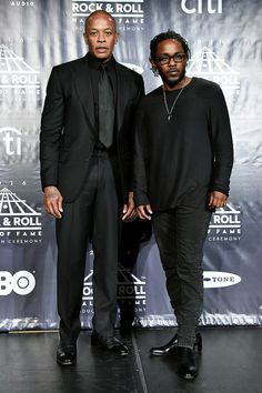 Dre and Kendrick Lamar pose in the press room at the Annual Rock And Roll Hall Of Fame Induction Ceremony at Barclays Center on April 2016 in New York City Hip Hop Artists, Music Artists, Kung Fu Kenny, Celebrities Before And After, Rap Music, Rap Songs, American Rappers, 6 Photos, Hip Hop Rap