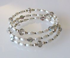 Rice Pearls with Vintage Crystal Iridescent Beads Memory Wire Bracelet