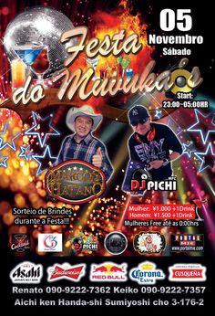 Balada com show ao vivo do cantor Marcos Hatano agitando a galera com sucessos da música sertaneja e nas pick-ups DJ Pichi mandando seus melhores sets!