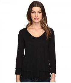Mod-o-doc - Slub Jersey Forward Seam 3/4 Sleeve Tee (Black) Women's T Shirt