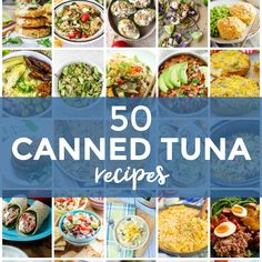 Are you looking for some canned tuna recipes? Canned tuna can be used for so much more than just tuna fish sandwiches! Pull that tuna out of your pantry and let this collection of 50 tuna recipes inspire you! Canned Tuna Recipes, Fish Recipes, Cooking Recipes, Seafood Recipes, Recipies, Cheese Stuffed Mushrooms, Stuffed Peppers, Creamed Corn, Kochen