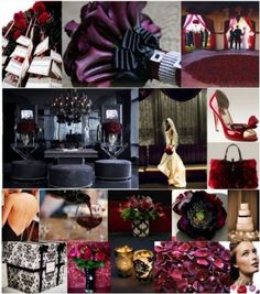 Church with dark red carpet, what color decor?? :  wedding Black White Purple And Red Wedding Inspiration Board Created By Itsajaimethingdotcom 1