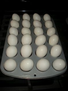 Hard Boiled Eggs in Oven at 350°F for 30 min - Super Easy! This was awesome! They came out perfect! I would recommend turning them halfway thru cooking or the egg whites get small brown spots on them.