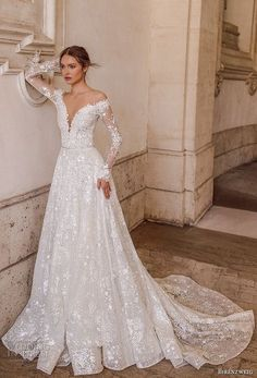birenzweig 2018 bridal long sleeves off the shoulder deep plunging v neck full embellishment a line wedding dress sheer v back chapel train 1 mv - Birenzweig 2018 Wedding Dresses Sheer Wedding Dress, Long Wedding Dresses, Long Sleeve Wedding, Wedding Dress Sleeves, Lace Wedding, Lace Dress, Bridesmaid Dresses, Dresses With Sleeves, Dresses Dresses