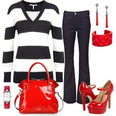 """Navy Stripes With Red"" by lellett on Polyvore"