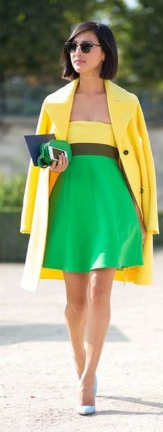 Spring street fashion chic /karen cox. Green And Yellow Outfit Idea by Make Life Easier