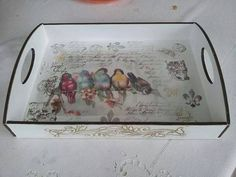 Trays by The Classy Home Decoupage Box, Decoupage Vintage, Diy And Crafts, Paper Crafts, Wooden Crafts, Painted Trays, Shabby Chic Crafts, Painting On Wood, Diy Art