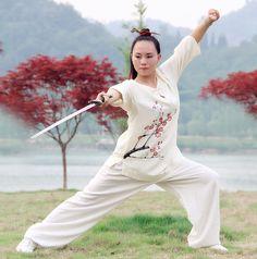 Wudang Hand painted Linen Female Handmade Linen Tai Chi Uniform Wushu, Kung Fu…