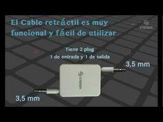 Video que muestra el funcionamiento y usabilidad del cable retráctil con conectores plug 3,5 mm. Tiene una longitud máxima de 90 cm. Por su mecanismo retráctil es ideal para el traslado, ya que evitará que se enrede con otros cables.