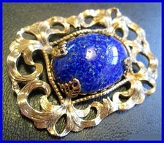 Art Nouveau Brooch Pin Blue Spec Stone by BrightgemsTreasures, $49.50