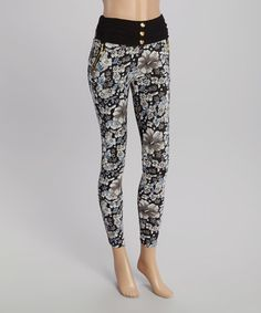 Love this Black & White Floral Leggings on #zulily! #zulilyfinds
