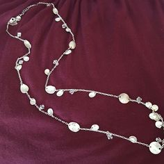 "Hammered Silver Necklace Beautiful silver necklace with crystal beads. Measures about 14"" in length when worn. Purchased from White House Black Market. Excellent condition. Not real silver. White House Black Market Jewelry Necklaces"