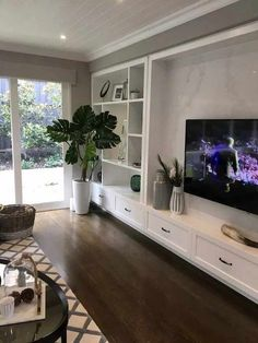 Cute Living Room, Living Room Built Ins, Living Room Wall Units, Small Living, Modern Living, Living Room Decor Tv, Minimalist Living, Living Room Ideas With Tv, Living Room Without Fireplace