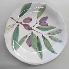 Olive branch 8 plate click the image for more details. Pottery Painting, Ceramic Painting, Ceramic Art, China Painting, Pottery Plates, Pottery Vase, Ceramic Pottery, Painted Ceramic Plates, Ceramic Bowls