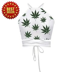 Tank Crop top funny weed lesf print clothing Emoji girl Women Summer Style Harajuku Bandage String Sleeveless from Virtual Store USA. Bustier Top, Cropped Tops, Stoner Style, Vetement Fashion, Halter Crop Top, Crop Tank, Halter Neck, Vest Outfits, Vestidos