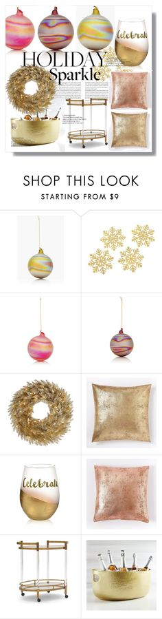 """""""Holiday Sparkle"""" by ellenawaters ❤ liked on Polyvore featuring interior, interiors, interior design, home, home decor, interior decorating, Winward, Kate Aspen, West Elm and Mitchell Gold + Bob Williams"""