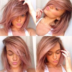 Pink/lavender tint to dirty blonde hair with balayage highlights.. Instagram- froufrou412
