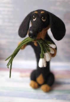 Dachshund, #dachshund Toy, Needle Felted Dachshund black and tan toy from wool, Custom Made Dog Portrait, Soft animal sculpture OAAK from wool, dachshund needle felted toy, dackel by ArtofSweetMemories on Etsy, Snowdrops bouqet