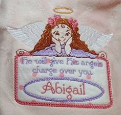 Angels Charge Applique Labels, 2 Styles - 5x7 | Angels | Machine Embroidery Designs | SWAKembroidery.com Oma's Place