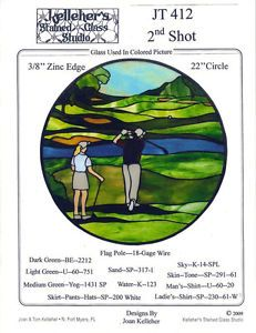 2nd Shot (golf) stained glass pattern (only) JT412 circle 22"