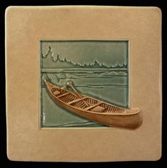 Art tile, Ceramic tile, Canoe, 4x4 inches, deco tile, home decor, handmade tile by MedicineBluffStudio on Etsy