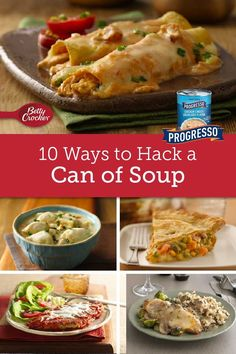 A can of soup becomes a hearty casserole, creamy pot pie and more with these clever recipe ideas. Can Of Soup, Bowl Of Soup, Soup And Salad, Pot Pie, Betty Crocker, Homemade Food, Soups And Stews, Casseroles, Recipe Ideas
