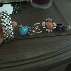 6 rings and a bracelet All together size 7 rings or flexible Express Accessories