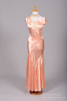 1930 Salmon Slipper Satin Vintage Gown from Mill Crest Vintage
