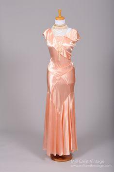 1930 Salmon Slipper Satin Vintage Gown from Mill Crest Vintage