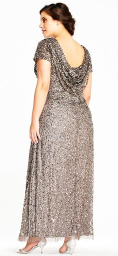 Adrianna Papell | Short Sleeve Sequin Beaded Gown with Cowl Back