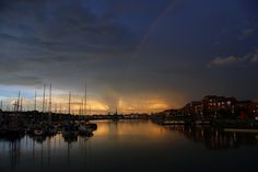 A bizzare mixture of light on a summers evening over Preston Marina, an approaching thunder storm with lightning, a rainbow and sunset all at the same time. Preston Uk, Preston Lancashire, Summer Evening, Thunderstorms, The Good Place, England, Sunset, Landscape, Park